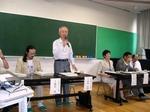 にしみたか学園;ご説明してくださっているのはコミュニティ委員会会長の伊藤さんです。こうした方々の存在抜きには小中一貫制度はな成り立ちません。