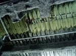 11Fの我孫子市の施設(飲食施設を予定)が入るフロアの天井はご覧のとおりの「黒こげ」が、あちらこちらに…。鉄骨は熱に対してどうなんでしょう…。ちょっと不安です。
